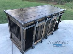 Luxury designer piece to replace your dogs' wire crate. Handcrafted barn doors ! Perfect as an entry table or entertainment stand! Large Double Dog kennel. Indoor Double kennels come standard with center door that allows the space to be divided into two spaces or latched back to completely keep kennel opened. Can be ordered in custom distressed paint of your color choice. comes standard with stain and polyurethane. It is furniture for your dog. - Tap the pin for the most...