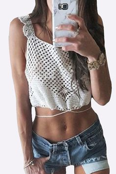 Blanco Crochet Knitting Off-the-hombro Cami from mobile - US$15.95 -YOINS