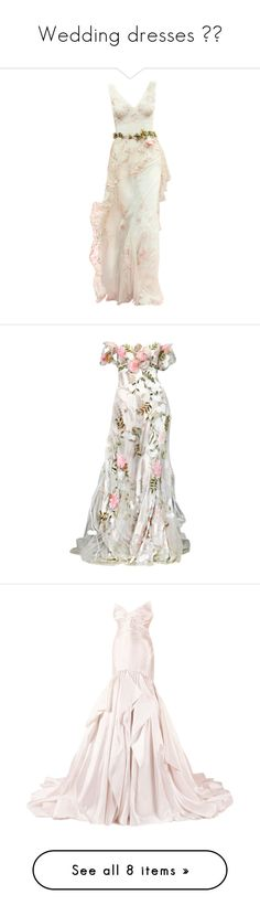 """""""Wedding dresses 👰🏻"""" by iridescent-youth ❤ liked on Polyvore featuring dresses, wedding dresses, gowns, long dresses, wedding, vestidos, white dress, long white dress, murad and white evening dresses"""