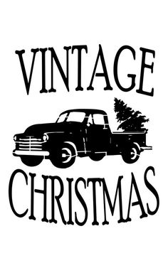 Vintage Trucks Vintage Christmas - Outline or Silhouette Vintage Truck With Christmas Tree Reusable Craft Stencil, - Christmas Decals, Christmas Truck, Christmas Svg, Christmas Colors, Christmas Projects, Vintage Christmas, Christmas Plaques, Silhouette Cameo Projects, Silhouette Design