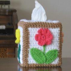 Crochet Flower Tissue Box