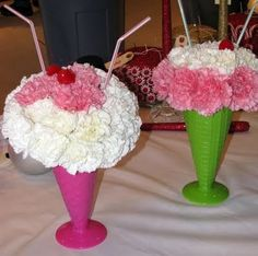 cute ice cream inspired floral centerpieces