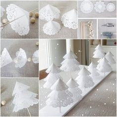 Creative Ideas - DIY Pretty Paper Doily Christmas Trees | iCreativeIdeas.com Follow Us on Facebook --> https://www.facebook.com/iCreativeIdeas