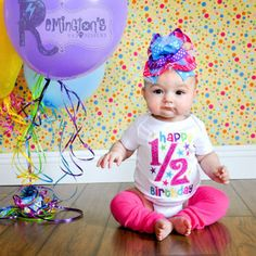 1/2 Birthday Embroidered Shirt or Onesuit - Birthday Shirt - Girls Birthday - 1st Birthday - One Half Birthday - 6 Months Birthday