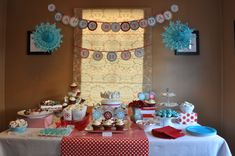 Winter Onederland - Use presents to elevate food, wrapping paper runner, red and blue