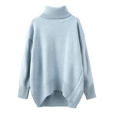 Turtleneck Dropped Shoulder Seam High Low Blue Jumper ($16) ❤ liked on Polyvore featuring tops, sweaters, jumpers sweaters, blue jumper, turtleneck sweater, turtle neck sweater and drop shoulder sweater