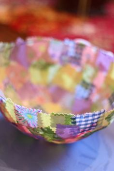 """Fabric Collage Baskets. Great way to use scraps. I don't care if this is for kids to make - I think it would be fun for anyone! Comment from poster: """" Plus, this is a craft that ends up looking good no matter what."""""""
