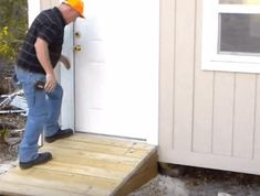 How to Build a Shed Ramp – Simple Step by Step Tutorial - The Saw Guy Small Shed Plans, Lean To Shed Plans, Small Sheds, Storage Shed Kits, Shed Organization, Outdoor Storage Sheds, Building A Garage, Shed Building Plans, Building Homes