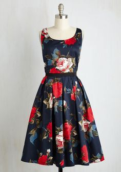 Greenhouse Grandeur Dress in Navy. Your green thumb influences your prettiest outfits, and this navy midi dress fittingly strikes your fancy. #multi #modcloth