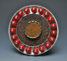 Jennifer Wells - Brooch, Sterling, Steel, Coin, Tin, Coral