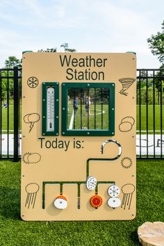 Basic Preschool Weather Station The Basic Preschool Weather Station features a . Basic Preschool W Preschool Playground, Preschool Garden, Outdoor Playground, Children Playground, Playground Ideas, Learning Weather, Preschool Weather, Outdoor Learning Spaces, Outdoor Education