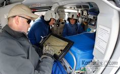 Medical transport team for children holds training in a helicopter