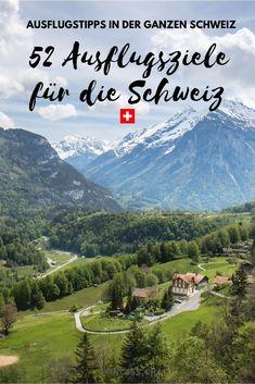 Entdecke über 50 Ausflugsziele in der ganzen Schweiz. Graubünden, Zentralschweiz, Tessin, Zürich, Bern, Westschweiz und in der Ostschweiz. Zahlreiche Ausflugstipps vom wandern über Städtereisen bis hin zu Wellness. Lass dich mit Reise-Tipps inspirieren! Zermatt, Wellness, Mountains, Places, Nature, Travel, Skiing, Beautiful Landscapes, Road Trip Destinations