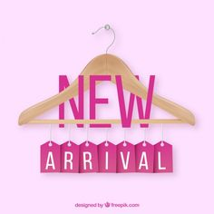 New arrival composition with realistic cloth hanger Free Vector