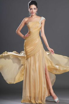 One+Shoulder+Floor+Length+Sheath+Column+Yellow+Chiffon+Prom+Dress+With+Pleating+Cet0174