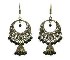 Waama Jewels Black Pearl Gold Plated Dangle Earring For Women Ear Wire Cluser Holiday Sale Festive Earring - (wje4150)