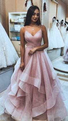 Spaghetti Straps Pink Tulle Long Prom Dress with Layers, 2019 Pink Prom Dress Gr. - - Spaghetti Straps Pink Tulle Long Prom Dress with Layers, 2019 Pink Prom Dress Graduation Dress Spaghetti Straps Pink Tulle Long Prom Dress with Layers. Evening Dress Long, Cheap Evening Dresses, Elegant Dresses, Pretty Dresses, Evening Gowns, Evening Party, Casual Dresses, Cheap Dresses, Cheap Pageant Dresses