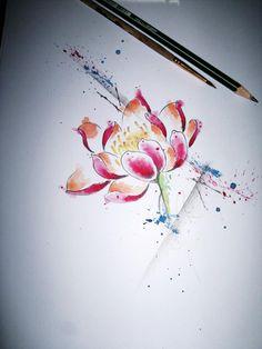 Lotus + watercolor