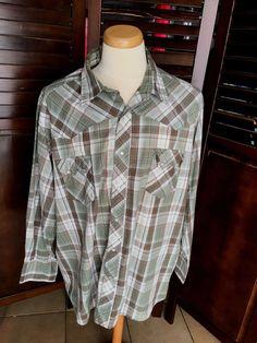 Wrangler Mens Cowboy Western Shirt Plaids Snap Buttons Size 3XL 216d36bd8ea92