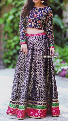 Indigo Jamawar Suit | 786Shop.com | Pakistani Indian Dresses.