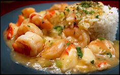 Shrimp and Crabmeat Etouffee -  This is another classic New Orleans dish with a few short cuts that's full of flavorful seafood with a little creole kick! Use fresh seafood if you can - it will make for a much tastier dish. This is a relatively easy dish and we made this version without going to all the additional work of making the traditional roux. This tends to intimidate some who would love to try the flavors of Naw'lins but are nervous of the necessary steps.