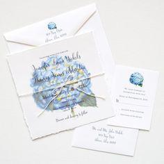 Watercolor hydrangea floral custom handmade wedding invitations by artist Michelle Mospens.   Mospens Studio