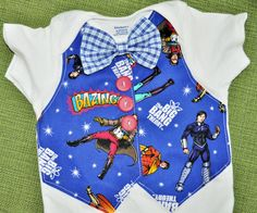 Big Bang Theory vest and gingham blue and white bowtie onesie/Tshirt Bazinga RYLOwear, $22.00