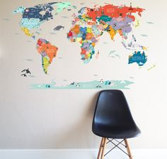 A fun and informative way to help the kiddos become familiar with the map of the WORLD. 1 LARGE DECAL - entire decal measures 43h x 78w