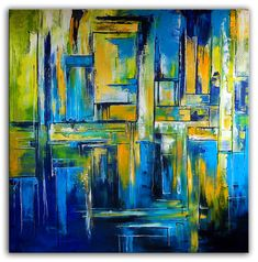 Abstraktes Wandbild XXL abstrakte Malerei blau – Hobbies paining body for kids and adult Yellow Canvas Art, Canvas Art Prints, Abstract Landscape, Abstract Art, Copper Wall Art, Original Art, Original Paintings, Large Artwork, Modern Art