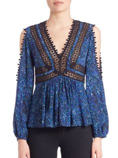 Rebecca Taylor - Printed Lace Top