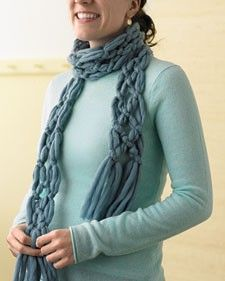 Easy scarf (no knitting) - to try making out of old t'shirts how soft & comfy would that be