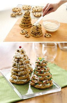 Christmas tree stacked cookies. Be creative and stack along your chocolate cookies to make them look like a chocolate Christmas tree. Add cream in the middle to keep every cookie in place and don't forget to add colorful sprinkles.