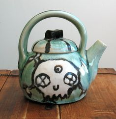 Copper Green Skull and Crossbones Teapot, Nicole Pangas