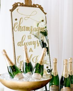 Your guests won't be able to help but raise a glass in honor of these unique ideas. No matter the lively nature of the reception, everyone stops to reflect on the sole meaning of their gathering: love. Champagne Birthday, Champagne Bar, Wedding Champagne, Champagne Toast, Wedding Themes, Wedding Decorations, Wedding Ideas, Wedding Dresses, Golden Birthday