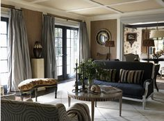 A grey Art Deco rug anchors a most elegant living by Jean-Louis Deniot in Bridgehampton, New York. Indian Living Rooms, Home Living Room, Living Room Decor, Living Spaces, French Interior Design, Interior Design Elements, French Interiors, Style At Home, French Beach