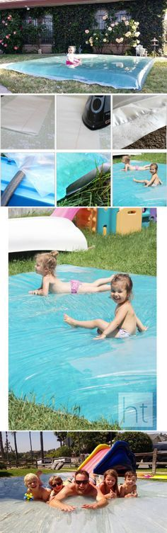 Amazing idea... with only 12$..water blob made with  Painter's plastic....plastic sheeting (*4 mil* – any size (here is used 10×25-foot roll, and cut it down to about 10×20) • an iron; • a hose; • (optional) coloring. Lay the plastic sheet down to form a water mattress and seal with iron