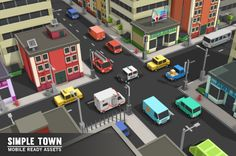 Simple Town - Cartoon City Assets by Simple Assets on Creative Market