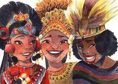 "#artist @wastanahaikal using - Cirebon Mask Dancer, Balinese Pendet Dancer, Papuan Musyoh Dancer. . "" From beach to savana, savana to… Dancing Drawings, Art Drawings, Filipino Art, Indonesian Art, Map Wallpaper, Weird Pictures, Watercolor Drawing, Inspiration For Kids, Pretty Art"
