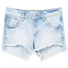 MANGO Light Wash Denim Short ($36) ❤ liked on Polyvore featuring shorts, embellished jean shorts, ripped denim shorts, distressed shorts, zipper shorts and short jean shorts