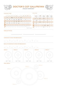 Learn Gallifreyan -- English worksheet | fan-made linear style inspired by the Doctor's cot