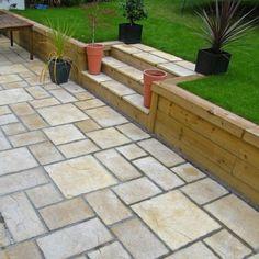 Patio Steps, Garden Steps, Back Garden Design, Backyard Garden Design, Garden Landscape Design, Landscaping Retaining Walls, Garden Paving, Backyard Landscaping, Back Gardens