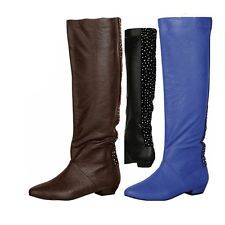 Women Flats Low Wedge Mid Calf Slouch Comfy Rhinestone Fashion Knee High Boots ~ LOVE the blue!