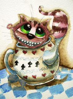 The Cheshire Cat - In A Teapot Painting by Lucia Stewart - The Cheshire Cat - In A Teapot Fine Art Prints and Posters for Sale