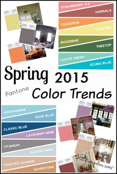 Check the spring 2015 color trends before updating your home for spring. Add a few well thought out accesories and create a fresh new look.  H2OBungalow #spring color