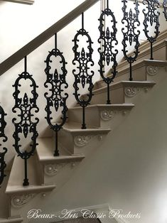 Custom Iron Works cast iron balusters and Decorators Supply stair brackets Iron Staircase Railing, Stair Railing Design, Iron Balusters, Stair Decor, Concrete Stairs, Wooden Stairs, Stair Brackets, Tiny House Stairs, Foyer Design