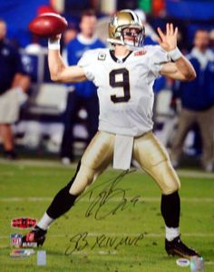 "Drew Brees Autographed 16x20 Photo New Orleans Saints """"SB XLIV MVP"""" PSA/DNA Stock"
