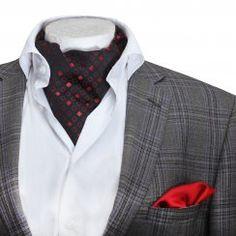 Mens casual red & black patterned silk cravat & handkerchief set