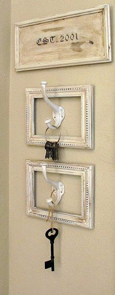 Dress up a wall and add a cute place for your keys with spray painted frames surrounding hooks.
