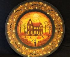 Halloween Folk Art  Hand Painted Plate with Spooky House in Woods, Witches, Black Cats, Bats, Full Moon, Autumn Leaves