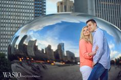 Chicago engagement photography session, idea, romantic, cute, the bean, city skyline